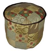 Home Decorative Handmade Patchwork Silk Round Ottoman Cover 17 X 43cm X 33cm