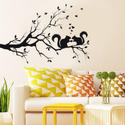 Animals Wall Stickers, Keepfit DIY Art Decal Kids Room Decor Squirrel On Long Tree Branch