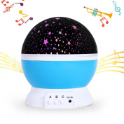 Baby Musical Starry Night Light, SlowTon 2017 New Rechargeable Star Moon Projector Led Dreamer Cosmos Rotating Romantic Desk Light with for Baby Children Bedtime Boy Girl Birthday Gift