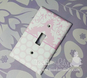 Pink Damask and Polka Dots and Stripes Girls Bedroom Light Switch Cover LS0075