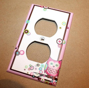 Pretty Pink Owl Girl Nursery Bedroom Single Light Switch Cover LS0049