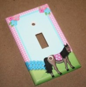 Pink and Blue Horse Single Girl Nursery Bedroom Single Light Switch Cover LS0040