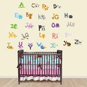 Baby Nursery Animal Alphabet Peel & Stick Kids Wall Decals - Multi-colour Educational Wall Art Classroom Stickers for Unisex Nursery Decor by Dekosh