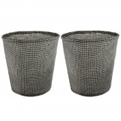 2PCS Waste Baskets - Jacone Stylish Textilene Woven Fabric Round Office Wastepaper Baskets Nursery Waste Bins - Easily Clean