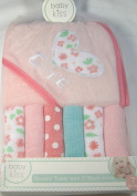 7 Pc. Baby Kiss Hooded Towel Set with 6 Pack Assoreted Washcloths Cutie