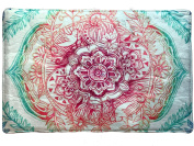 Colourful & Eclectic Mandala Non Slip Bath Mat with Thin Cushion, Ornate with Flowers, Birds and Indian Inspired Foliage