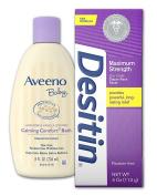 Desitin Nappy Rash Paste Treatment 120ml + Aveeno Baby Calming Comfort Bath in Lavender and Vanilla Scent 240ml - Infant Care Bundle Pack
