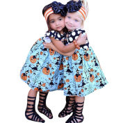Baby Girls Halloween Clothes , Hunzed Toddler Kids Halloween Pumpkin Cartoon Princess Dress Outfits Clothes For Baby Girls