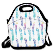Bright Bohemian Feather Lunch Bag Adjustable Strap
