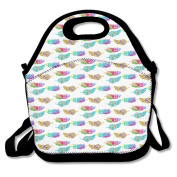Colourful Feather Pattern Lunch Bag Adjustable Strap