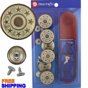 20 mm No-Sew Tin Copper 6 Jean Tack Buttons w/Tool