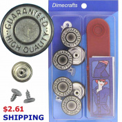 20 mm No-Sew Grey Silver 6 Jean Tack Buttons w/Tool