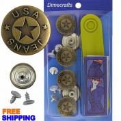 20 mm No-Sew Brass 6 Jean Tack Buttons w/Tool