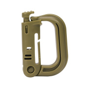 GENCASE Khaki Coloured D Shape Tactical Carabiner Large 54mm Plastic Key Chain Button Lock Snap Hook Clip Camping Gear For Backpack