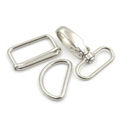 """2 Sets Swivel Snap Hook Clips Buckles Triglides D ring Rectangle Strap Metal 1.5"""" 38mm Nickle"""