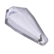 Acrylic Transparent Chandelier Crystals - Faceted Elongated Teardrop Shape - Flat Back