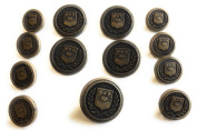 Antique Bronze Buttons SET Military Crest Style for Sport coats ,Suits 13 pc. Brass Buttons