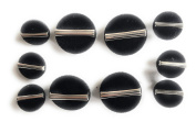 10 Black Velvet Buttons Set Half Ball with Silver Metal Bar Style , Blazer , Dresses, Sport Coat~.