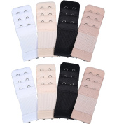8 Pieces Soft Comfortable Bra Extender Bra Extension Strap, 3 Rows 2 Hooks