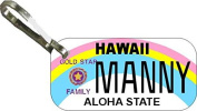Personalised Hawaii Gold Zipper Pull State Licence Plate Replica