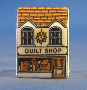 Porcelain China Collectable Thimble - Miniature House Shape - Quilt Shop