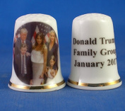 Porcelain China Collectable Thimble - Donald Trump Family Group -- Free Gift Box