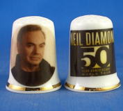 Porcelain China Collectable Thimble - Neil Diamond 50th Tour -- Free Gift Box