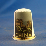 Porcelain China Collectable Thimble - Travel Poster Series China -- Free Gift Box