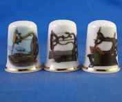 Porcelain China Collectable Thimbles - Set of Three Vintage Antique Sewing Machines