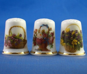 Porcelain China Collectable Thimbles - Set of Three Flower Baskets