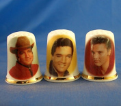 Porcelain China Collectable Thimbles - Set of Three Elvis Presley