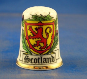 Porcelain China Collectable Thimble - National Emblem of Scotland -- Free Gift Box