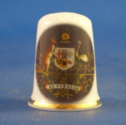 Porcelain China Collectable Thimble - National Emblem of Australia -- Free Gift Box