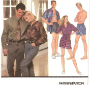 Men's convertible collar shirt, boxer shorts, and neck tie - Simplicity vintage sewing pattern 8150 – Size XS-M