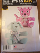 Simplicity 8206 Sewing Pattern, Two Pattern Piece Animal, Dog & Cat, One Size