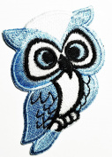 Blue White Cute owl cartoon patch Ideal for adorning your jeans, hats, bags, jackets and shirts.