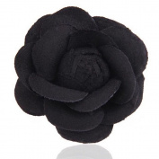 MISASHA Celebrity Designer Fabric Tweed Camellia Black Flower Pin Brooch