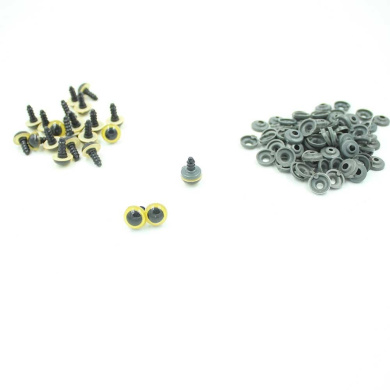 50pcs(25 Pairs) 12mm Yellow Plastic Safety Eyes for Teddy Bear Doll Animal Puppet Craft