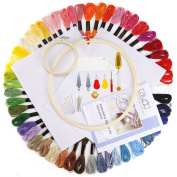 Caydo Embroidery Starter Kit with Operating Instructions for Adults and Kids, Including 2 Pieces Bamboo Embroidery Hoops, 50 Colour Threads, 2 Pieces Aida and Cross Stitch Tool Kits
