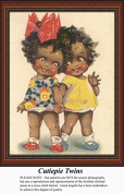 Cutiepie Twins, Vintage Counted Cross Stitch Pattern