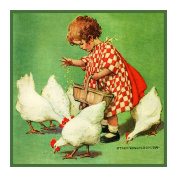 Girl feeding Chickens By Jessie Willcox Smith Counted X Stitch Pattern
