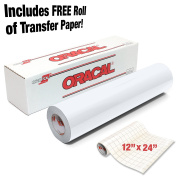 ORACAL Gloss White Adhesive Craft Vinyl 30cm x 1.8m for Cameo, Cricut & Silhouette Including Free Roll of Clear Transfer Paper