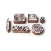 Geometric and Spiral Artistic Motif Wooden Stamps for Printing