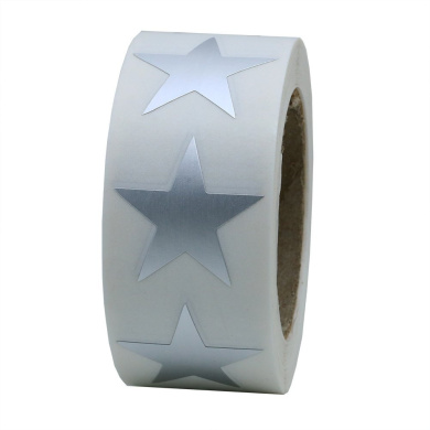 Hybsk(TM) Silver Metallic Foil Star Shape Paper Sticker Labels Packaging Seals Crafts Wedding Favour Tag Labels 500 Total Per Roll (1 Roll)