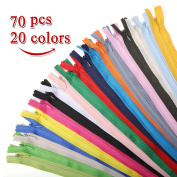 KINGSO 70Pcs 41cm Nylon Invisible Coil Zippers Tailor Sewer Tools Garment Accessories for Sewing Crafts 20 Colours