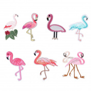 Souarts Mixed Flamingo Birds Embroidered Sew Iron On Applique Patches Set for Decoration 8pcs