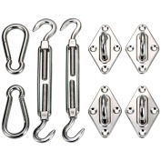 Ollieroo Shade Sail Hardware Kit for Rectangle and Square Sun Shade Sail Installation 20cm Silver