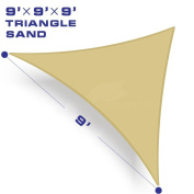 Shade & Beyond 2.7m x 2.7m x 2.7m Sand Colour Triangle Sun Shade Sail, UV Block for Outdoor Facility and Activities