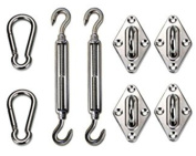 Shade Sail Hardware Kit for Rectangle and Square Sun Shade Sail Installation Set of 8 Silver
