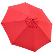 STARWORLD 2.4m - 4m More Durable Outdoor Market Umbrella Replacement Top Cover Canopy 8-Rib Patio 180g UV30+ Polyester with UV Protection Rain - RED colour
